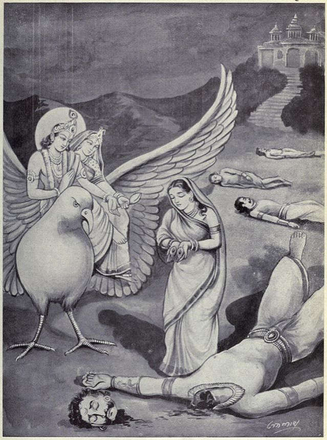 Goddess_of_earth_gives_Aditi's_earrings_to_Krishna
