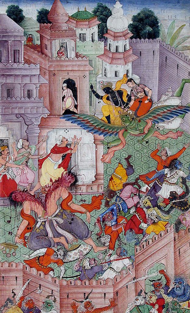 Krishna_Cleaves_the_Demon_Narakasura_with_his_Discus