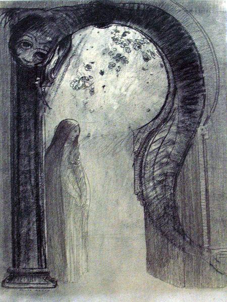 1890_Redon_Femme_et_serpent_(Mystère)_Kröller-Müller_Museum_anagoria